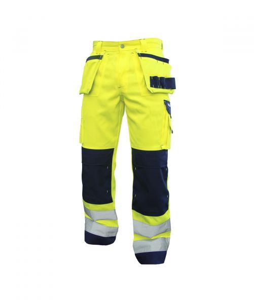 DASSY® Glasgow Warnschutz Multitaschen-Bundhose mit Kniepolstertaschen neongelb/dunkelblau